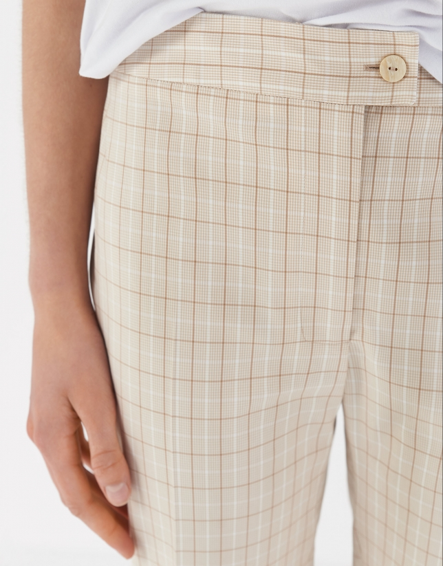 Sandy-colored glen plaid straight ankle-length pants