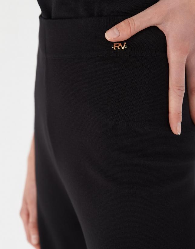 Pantalón pierna ancha de punto negro