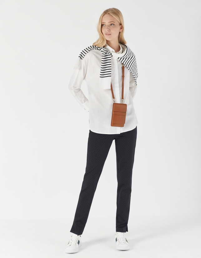 Black and beige dotted jacquard cigarette pants