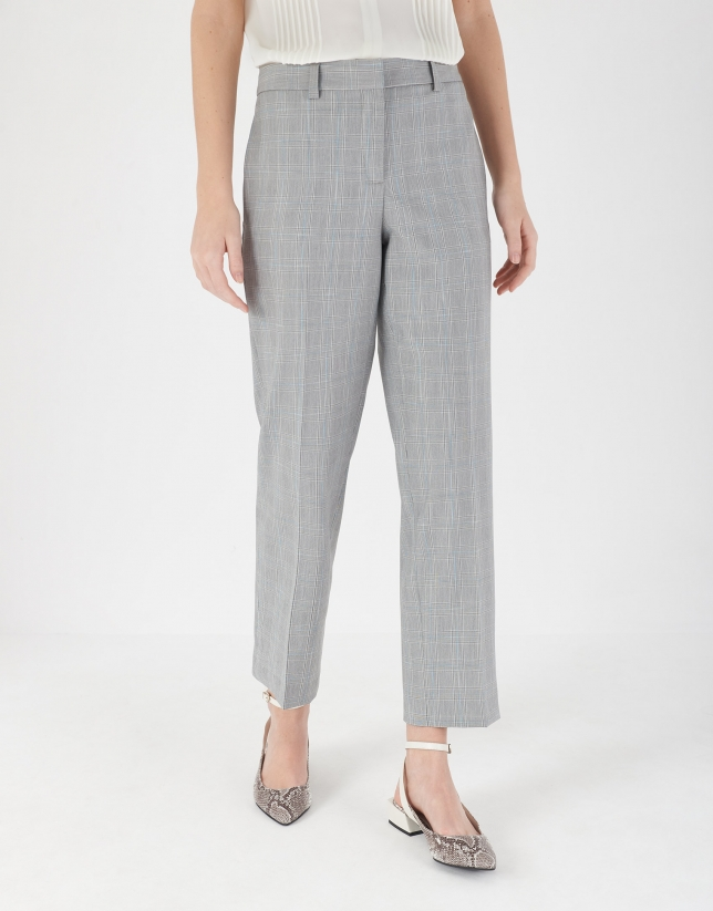 Blue glen plaid straight pants