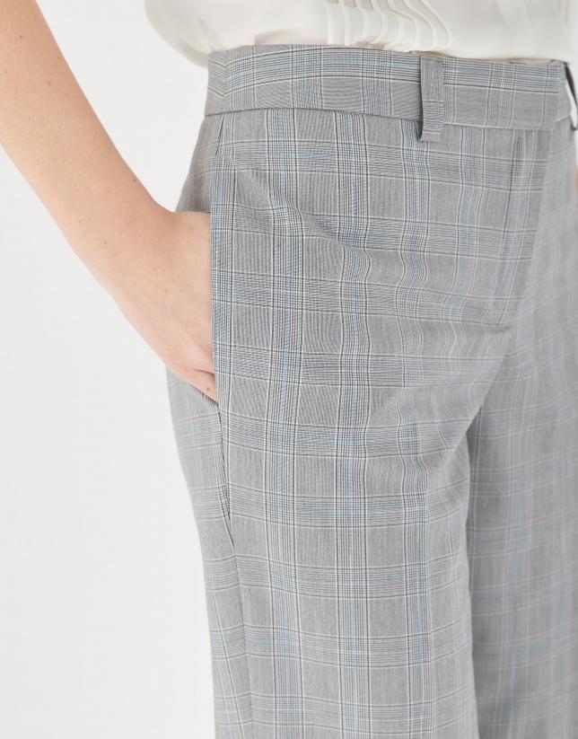 Pantalón recto cuadro gales tonos azules