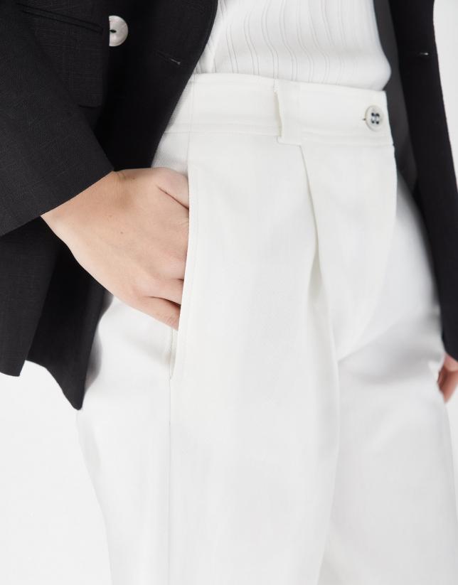 Pantalón talle alto con vuelta blanco