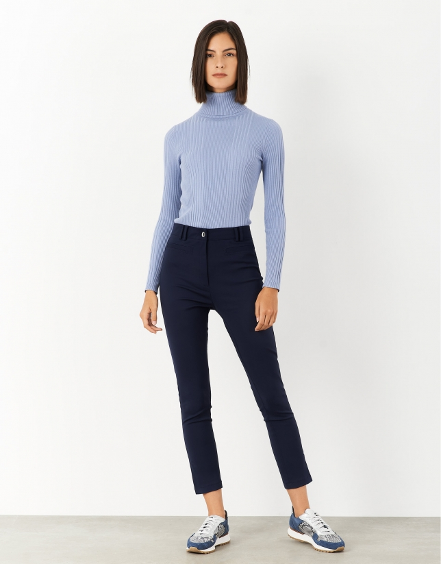 Navy blue ankle-length pants with slits