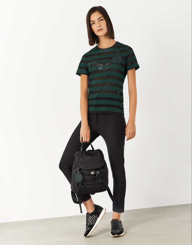 Black ankle-length pants with slits