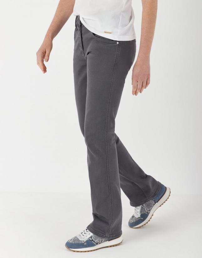 Gray bell-bottom jeans