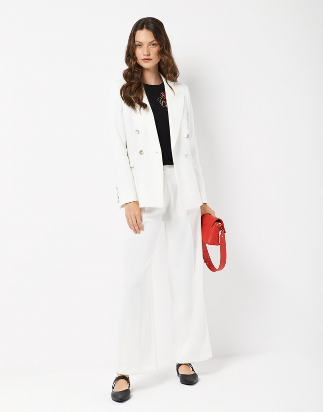 White crepe straight pants