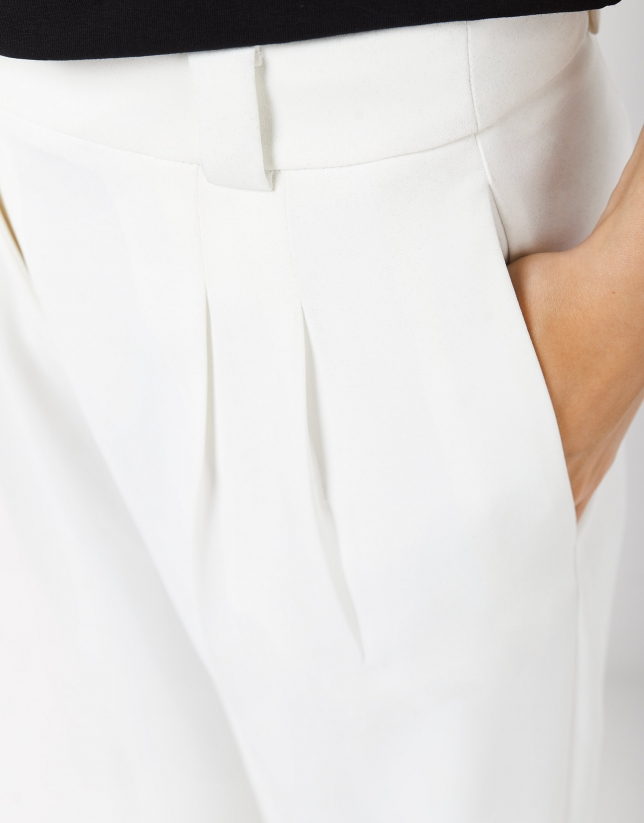 Pantalón recto crepe blanco
