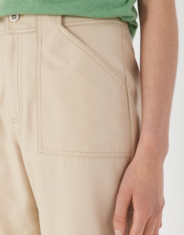 Sand-colored pants with patch pockets