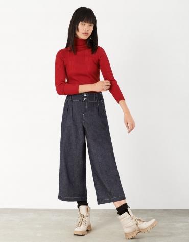 Pantalón talle alto cintura fruncida azul