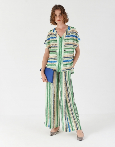 Pantalón ancho rayas multicolor