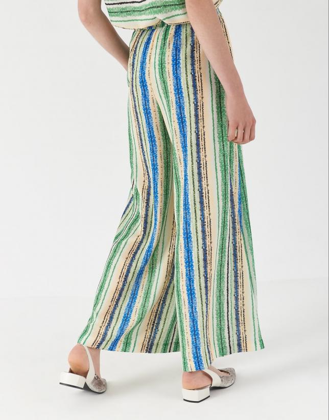 Multicolor striped, wide pants