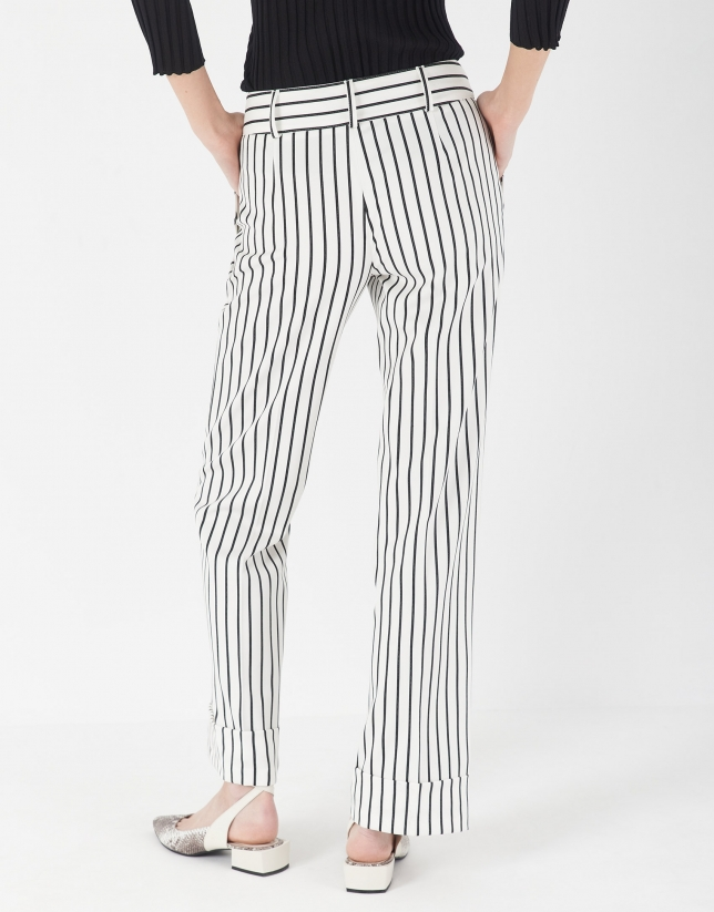 Black and white striped straight pants