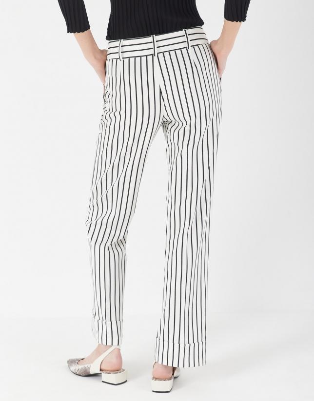 Pantalón recto rayas blanco y negro