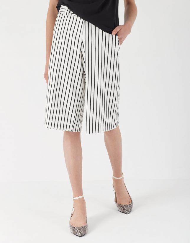 Black and white striped bermuda shorts