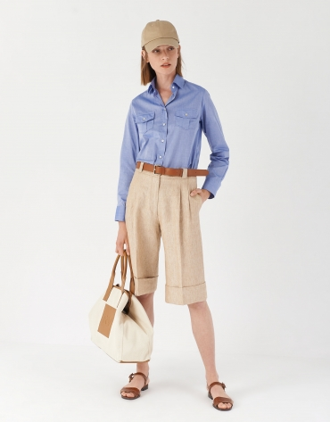 Sand-colored linen bermuda shorts