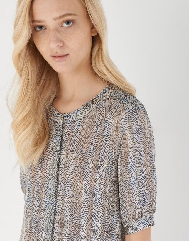 Camisa manga al codo estampada azul/gris