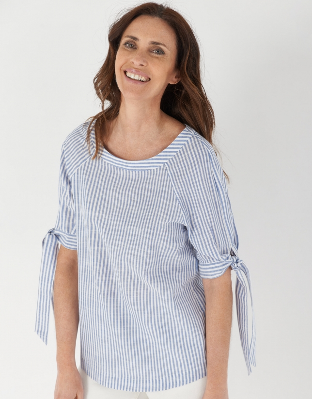 Blue striped blouse with boat neck