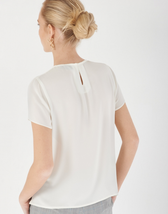 Cream top with front tucks