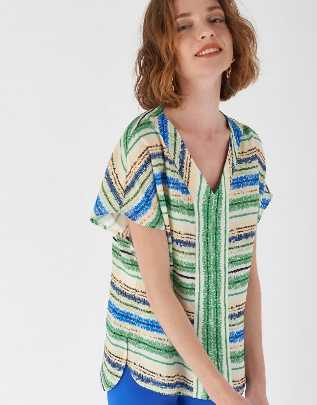 Blusón escote V multicolor