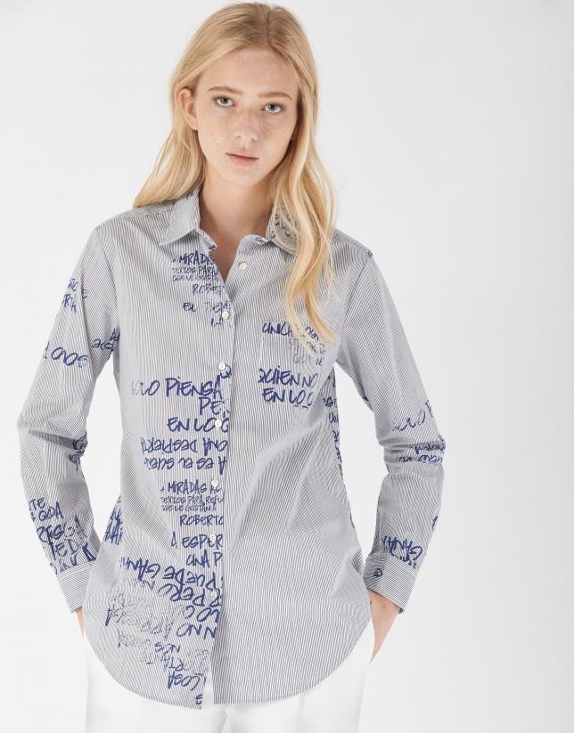 Camisa manga larga estampado frase azules