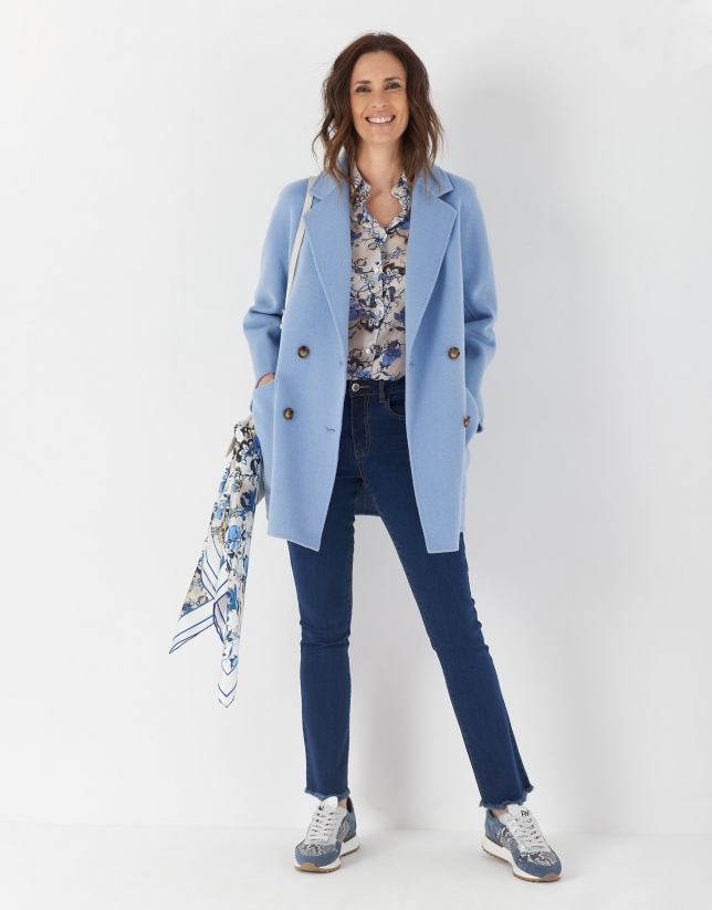 Blue floral print shirt with long sleeves