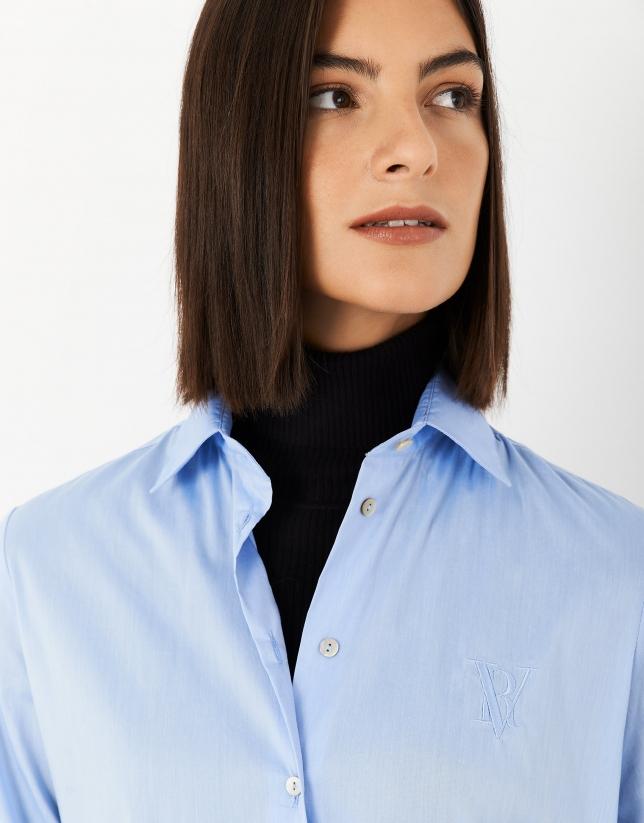 Camisa corte masculino azul claro