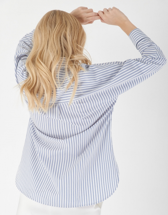 Blusón manga larga rayas blanco y azul