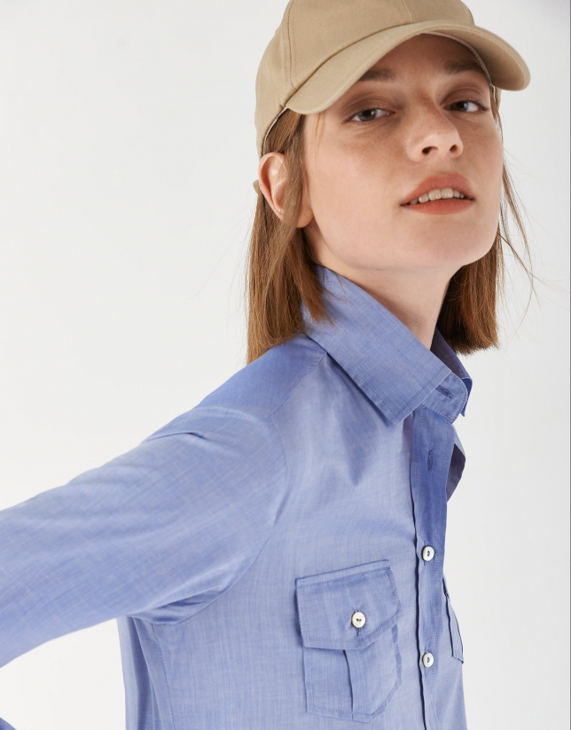 Blue men's shirt with pockets