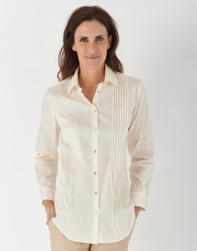Off white men's shirt with pin tucks