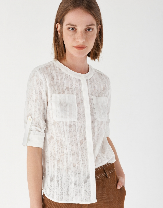 White shirt with sleeves and loops