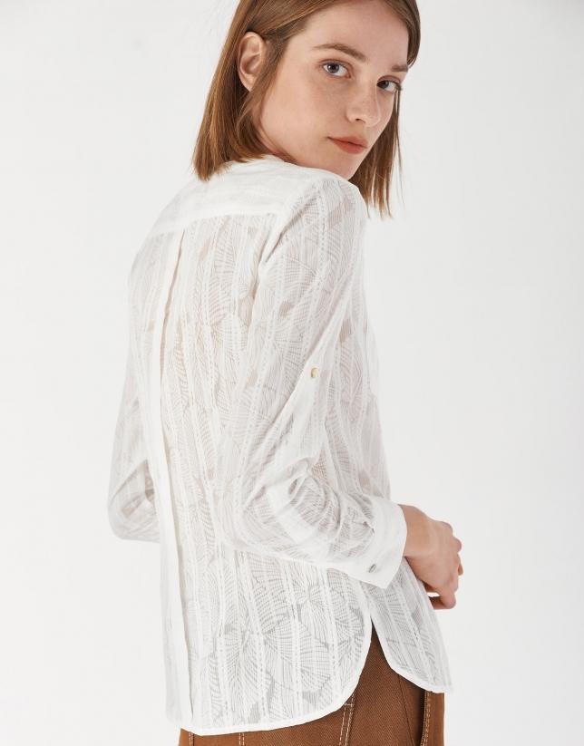 Camisa manga con trabilla blanca