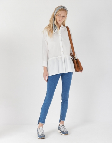 White oversize shirt with flared bottom
