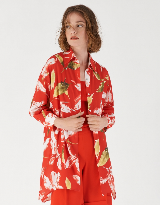Floral print oversize shirt