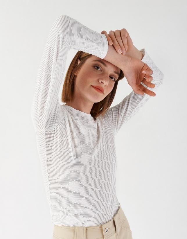 Camiseta punto diseño geométrico blanca