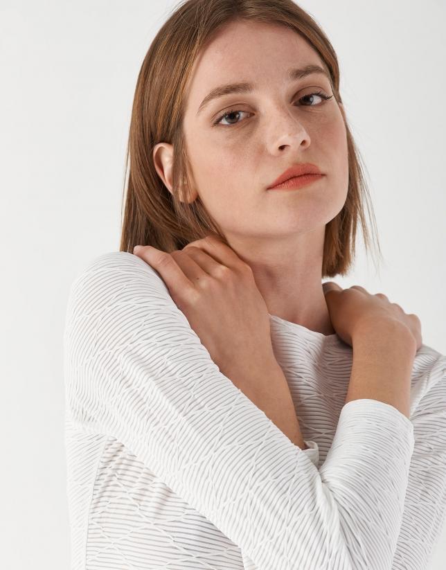 White knit and geometric jacquard top