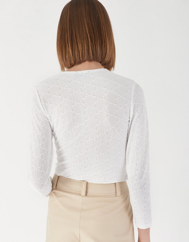 White knit and geometric jacquard top