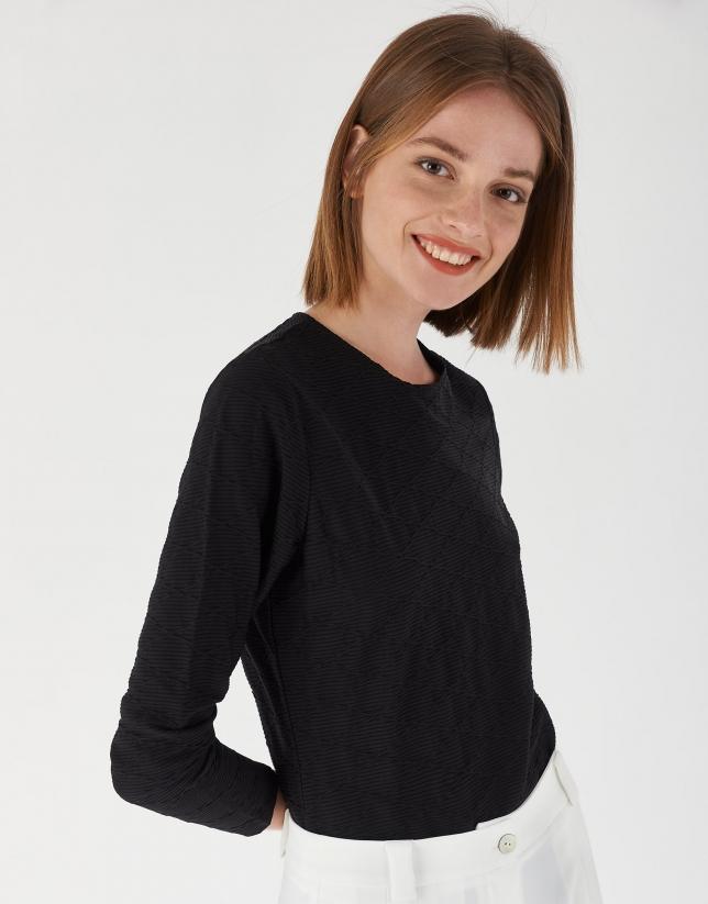 Black knit and geometric jacquard top