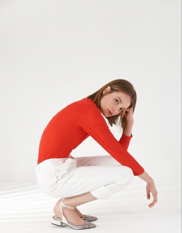 Red knit and geometric jacquard top