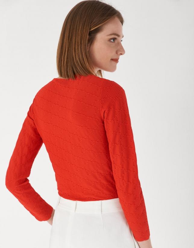 Camiseta punto diseño geométrico roja