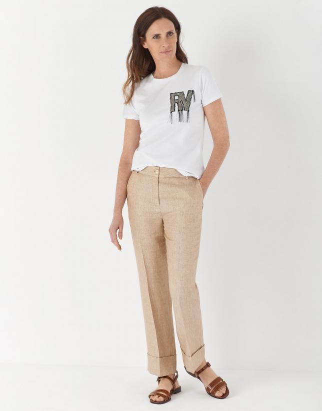 Camiseta manga corta blanca con RV desflecado