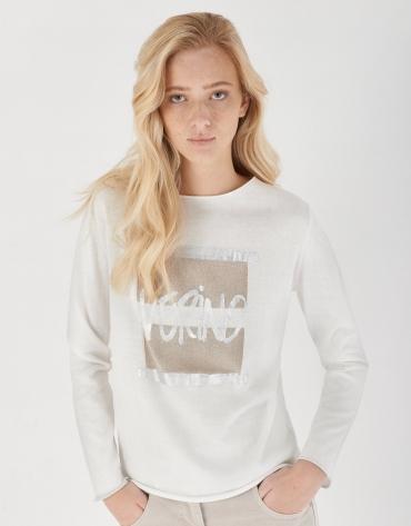 Camiseta manga larga blanca print VERINO metálico