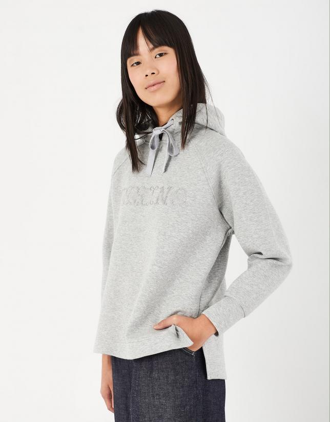 Gray hooded sweatshirt with embroidered VERINO logo