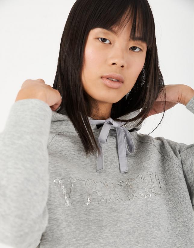 Sudadera capucha gris con bordado VERINO