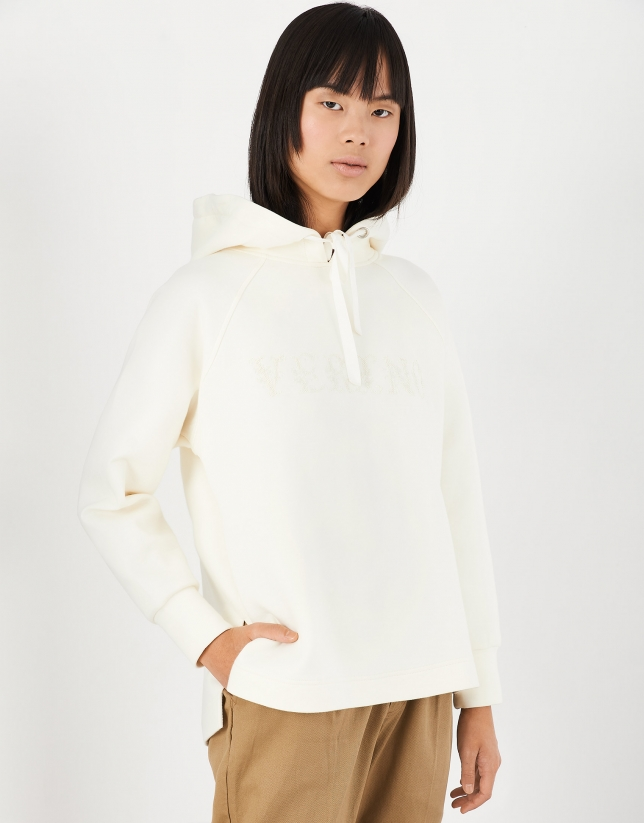 Off white hooded sweatshirt with embroidered VERINO logo