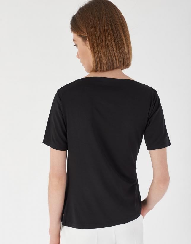 Camiseta drapeada en cintura negro