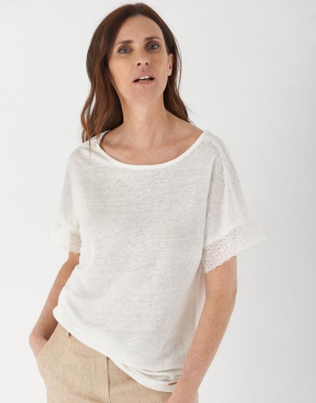 Camiseta lino blanca encaje en mangas