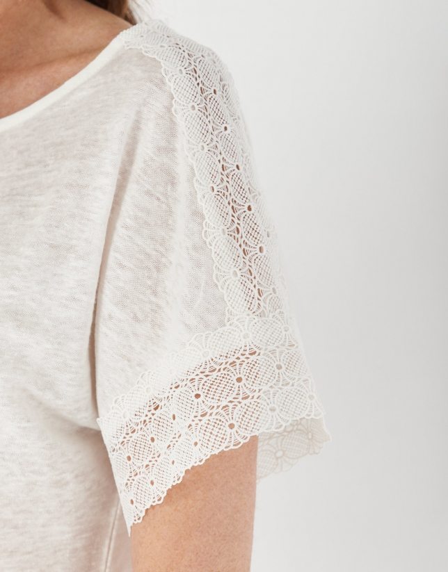 White linen top with lace on sleeves
