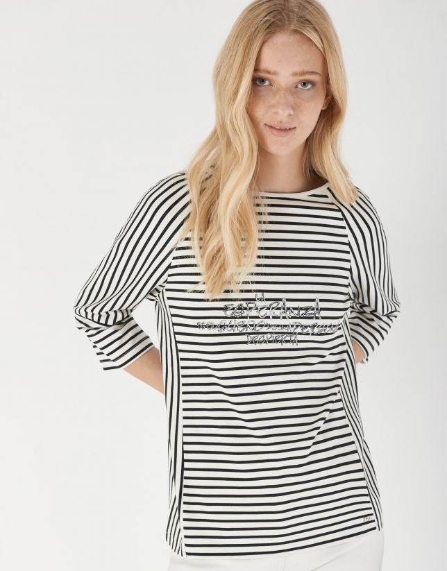 Camiseta oversize rayas blanco y negro