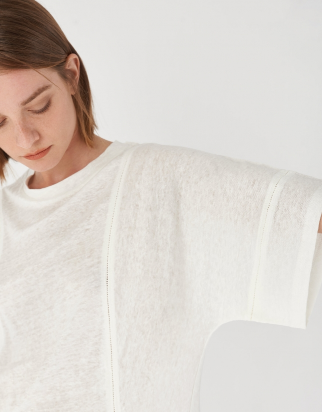 Camiseta lino blanca con vainica