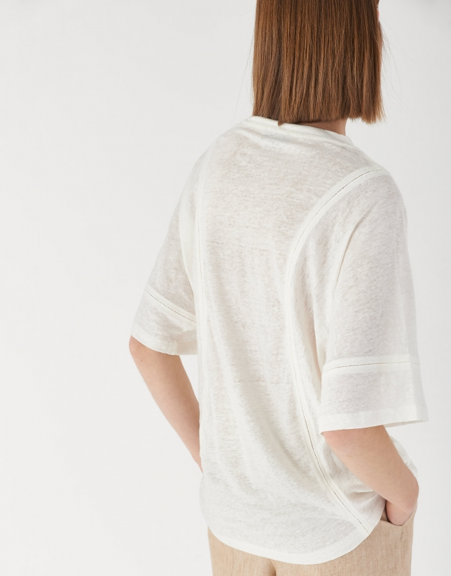 White linen top with hem-stitching